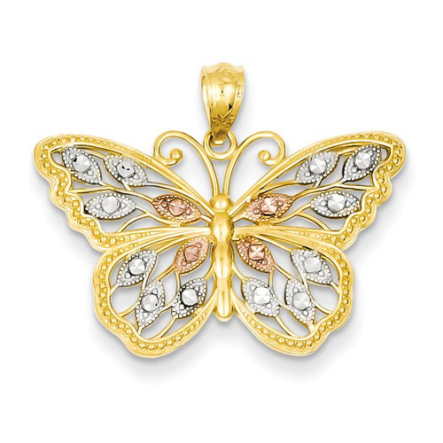 14kt Two-tone Gold 5/8in Diamond-cut Butterfly Pendant