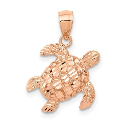 14k Rose Gold Diamond-cut Turtle Pendant 1/2in