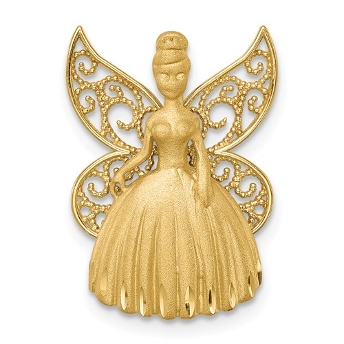 14k Yellow Gold Brushed Diamond-cut Filigree Fairy Pendant 3/4in