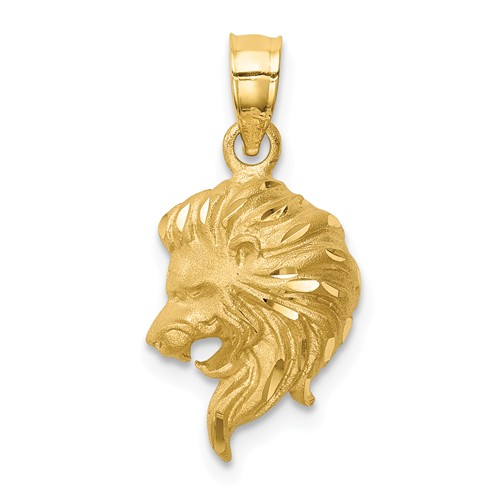 14k Yellow Gold Brushed and Diamond-cut Lion Head Pendant 1/2in