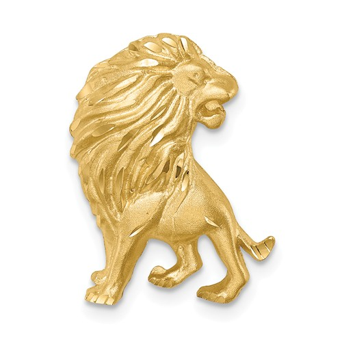14k Yellow Gold Brushed and Diamond-cut Lion Chain Slide 3/4in