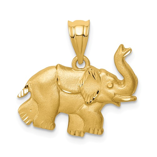 14k Yellow Gold Brushed and Diamond-cut Baby Elephant Pendant 1/2in