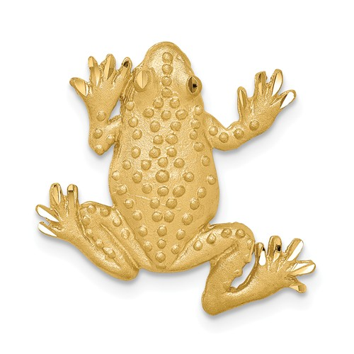14k Yellow Gold Brushed Diamond-cut Textured Frog Chain Slide 3/4in