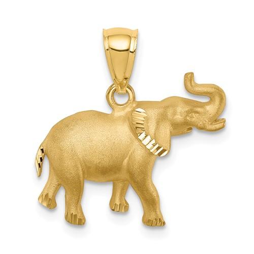 14k Yellow Gold Diamond-cut Elephant Pendant with Brushed Finish 1/2in