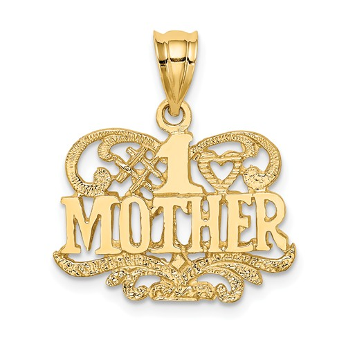 14k Yellow Gold Polished and Textured #1 Mother Pendant 1/2in