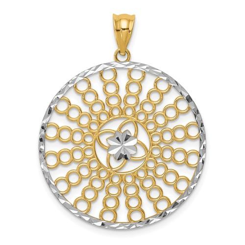 14k Yellow Gold Rhodium Diamond-cut Circle Sunburst Pendant 1in