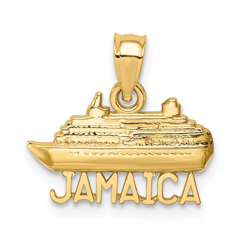 14k Yellow Gold Polished Jamaica Ship Pendant 3/8in