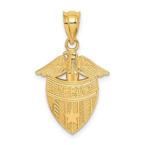 14k Yellow Gold Polished America Shield Pendant 5/8in