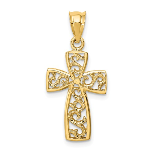 14k Yellow Gold Tapered Open Scroll Cross Pendant 3/4in