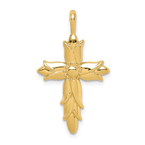 14k Yellow Gold Budded Open Scroll Cross Pendant 3/4in