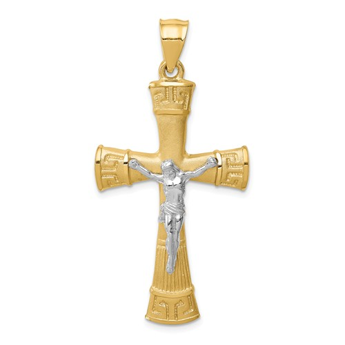 14k Two-tone Gold Brushed and Polished Crucifix Pendant 1 1/2in
