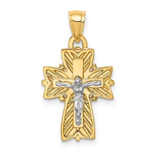 14k Two-tone Gold Fancy Crucifix Cross Pendant 3/4in
