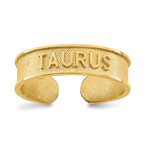14k Yellow Gold Zodiac Taurus Toe Ring
