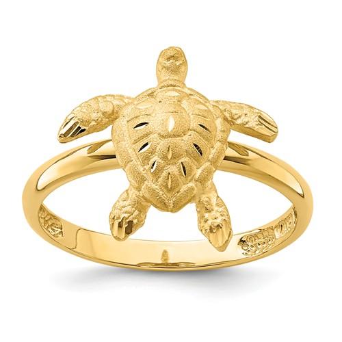 14k Yellow Gold Diamond-cut Turtle Ring