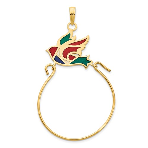 14k Yellow Gold Multi-colored Epoxy Bird Charm Holder
