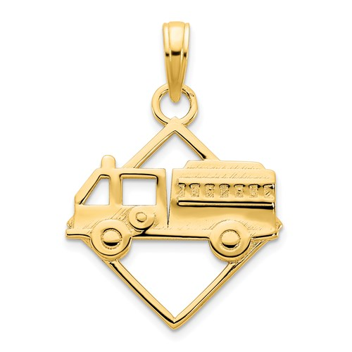 14k Yellow Gold Small Fire Truck Pendant in Square Frame