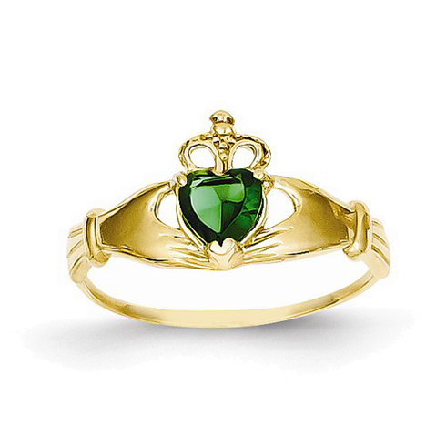 14kt Yellow Gold Claddagh Ring with Green Cubic Zirconia