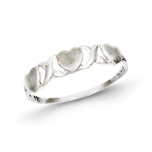 14kt White Gold Polished Satin Triple Heart Ring