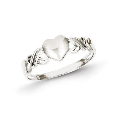 14kt White Gold Single Heart Ring