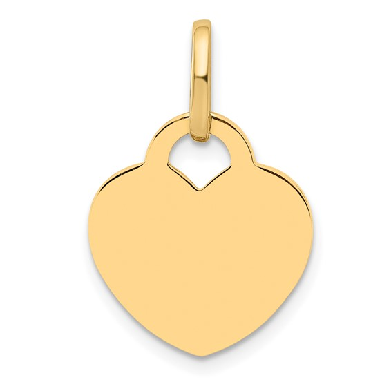 14kt Yellow Gold 5/8in Engravable Flat Heart Charm
