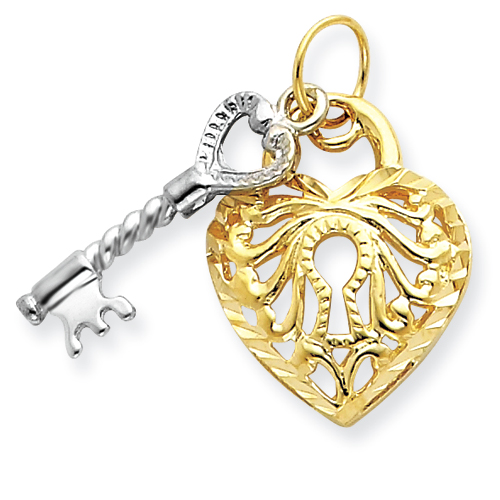 3/4in 14k Two-tone Heart & Key Charm