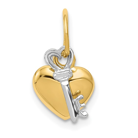 3/8in 14k Two-tone Heart & Key Charm