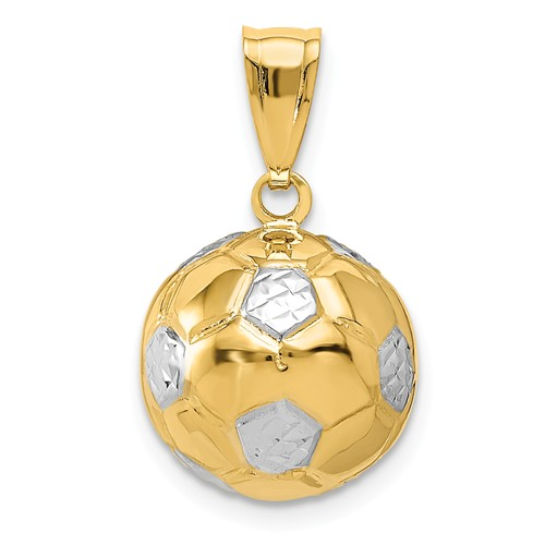 14kt Yellow Gold Rhodium 1/2in 3-D Soccer Ball Charm