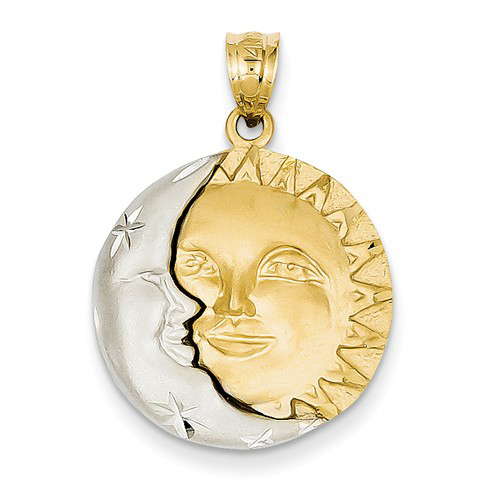 14kt Two-tone Gold 3/4in Satin Sun and Moon Pendant