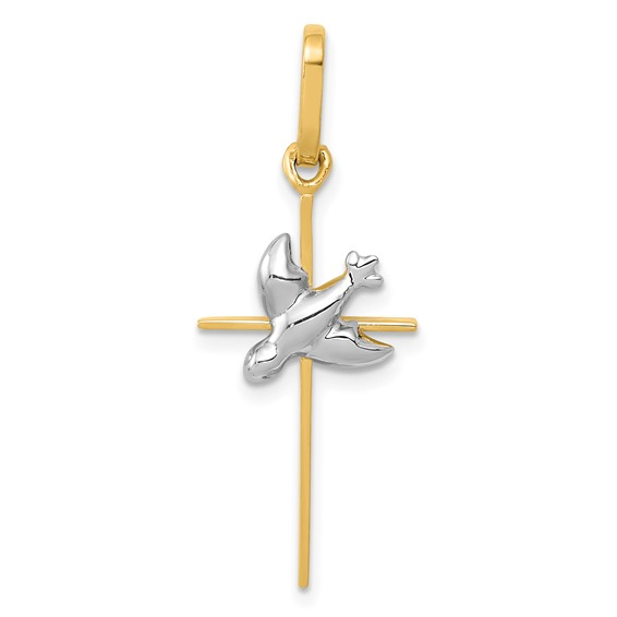 14kt Two-tone Gold 7/8in Slender Dove Cross
