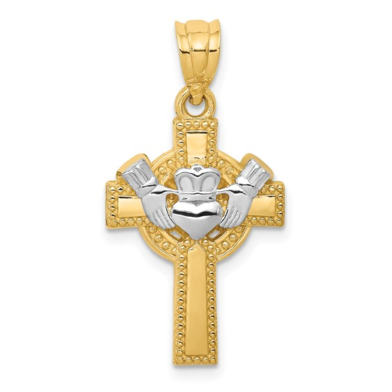 14kt Two-tone 15/16in Claddagh Cross Pendant