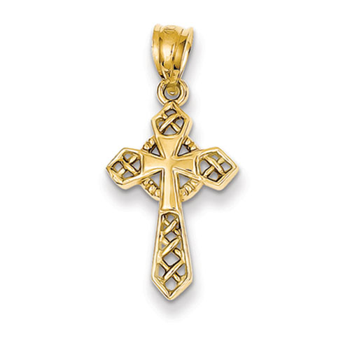 14k Yellow Gold 3 4in Pointed Celtic Cross Pendant D863