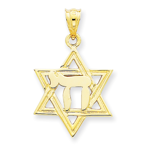 14kt Yellow Gold Solid 3/4in Polish Chai in Star of David Charm