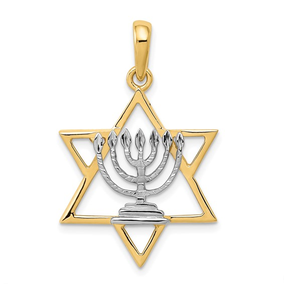 14k Yellow Gold and Rhodium 7/8in Solid Menorah in Star of David Charm