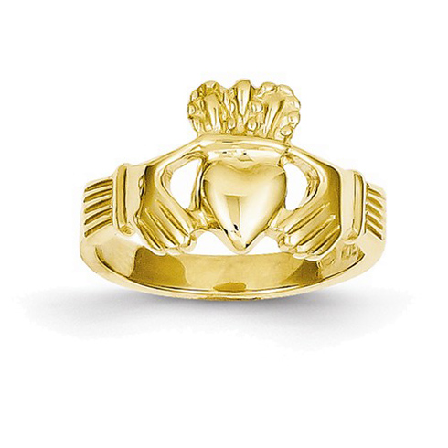 14kt Yellow Gold Open Back Claddagh Ring