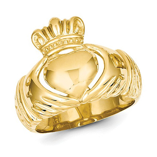 14kt Yellow Polished Domed Claddagh Ring