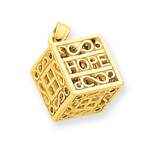 14k Yellow Gold Faith Hope Prayer Box Charm