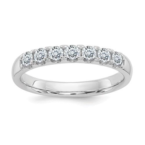 1 ct Pure Light Moissanite 7-Stone Wedding Band 14k White Gold