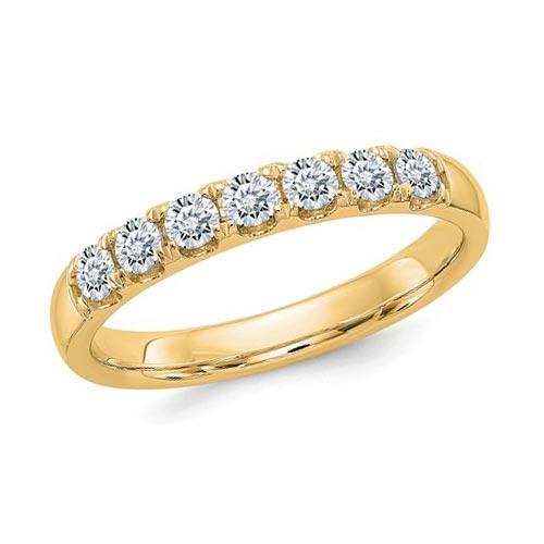 1 ct Pure Light Moissanite 7-Stone Wedding Band 14k Yellow Gold