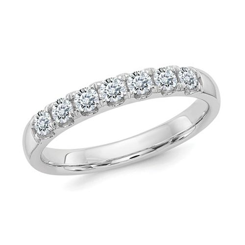 1.5 ct Pure Light Moissanite 7-Stone Wedding Band 14k White Gold