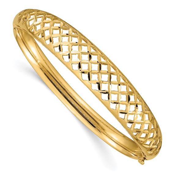 14kt Yellow Gold Wide Fancy Weave Hinged Bangle Bracelet