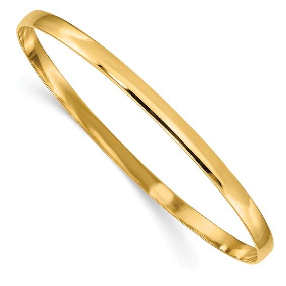 14kt Yellow Gold 4mm Solid Bangle Bracelet