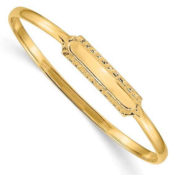 14kt Yellow Gold Slip-on 5.5in Baby ID Bangle Bracelet