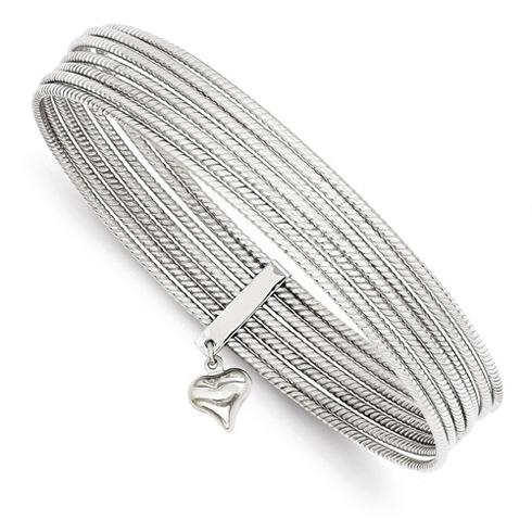 14kt White Gold Textured 7 Days Bangle Bracelet Set