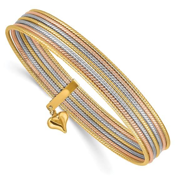 14kt Tri-color Gold Textured 7 Days Bangle Bracelet Set