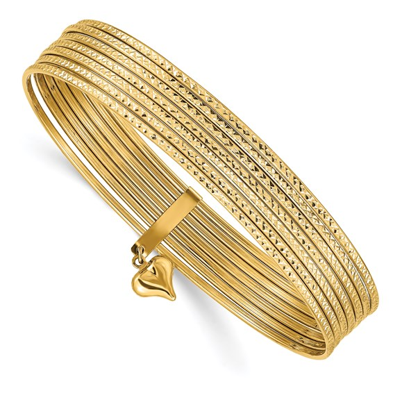 14kt Yellow Gold 7 Days Bangle Bracelet Set