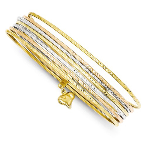 14kt Tri-color Gold 7 Days Bangle Bracelet Set