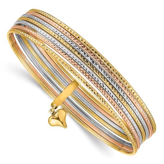 14kt Tri Color Gold 7 Days Bangle Bracelet Set Db536 Joy Jewelers