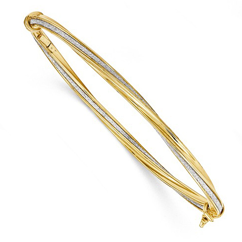 14kt Yellow Gold Italian Glitter Twisted Hinged Bangle