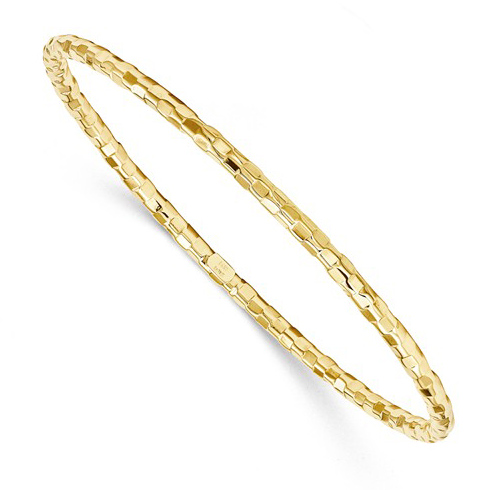 14kt Yellow Gold 8in Italian Hollow Slip-on Faceted Bangle