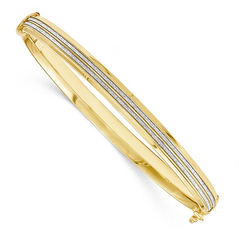 14kt Yellow Gold Italian Hinged Bangle with Glitter Channels